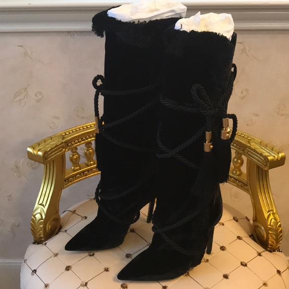 7203e257162 Versace Pillow Talk Black Velvet Boots NWT